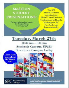 Community Week Model UN Student Presentations flier