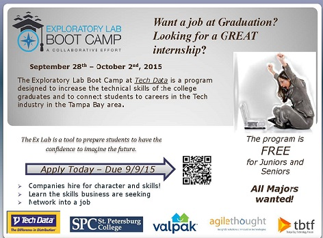 Exploratory Lab Boot Camp - apply by Sept  9