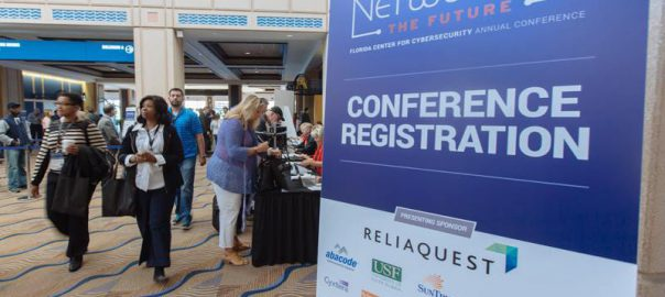 Cybersecurity Conference registration sign